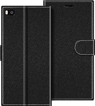COODIO Funda Huawei P8 con Tapa, Funda Movil Huawei P8, Funda Libro Huawei P8 Carcasa Magnético Funda para Huawei P8, Negro: Amazon.es: Electrónica