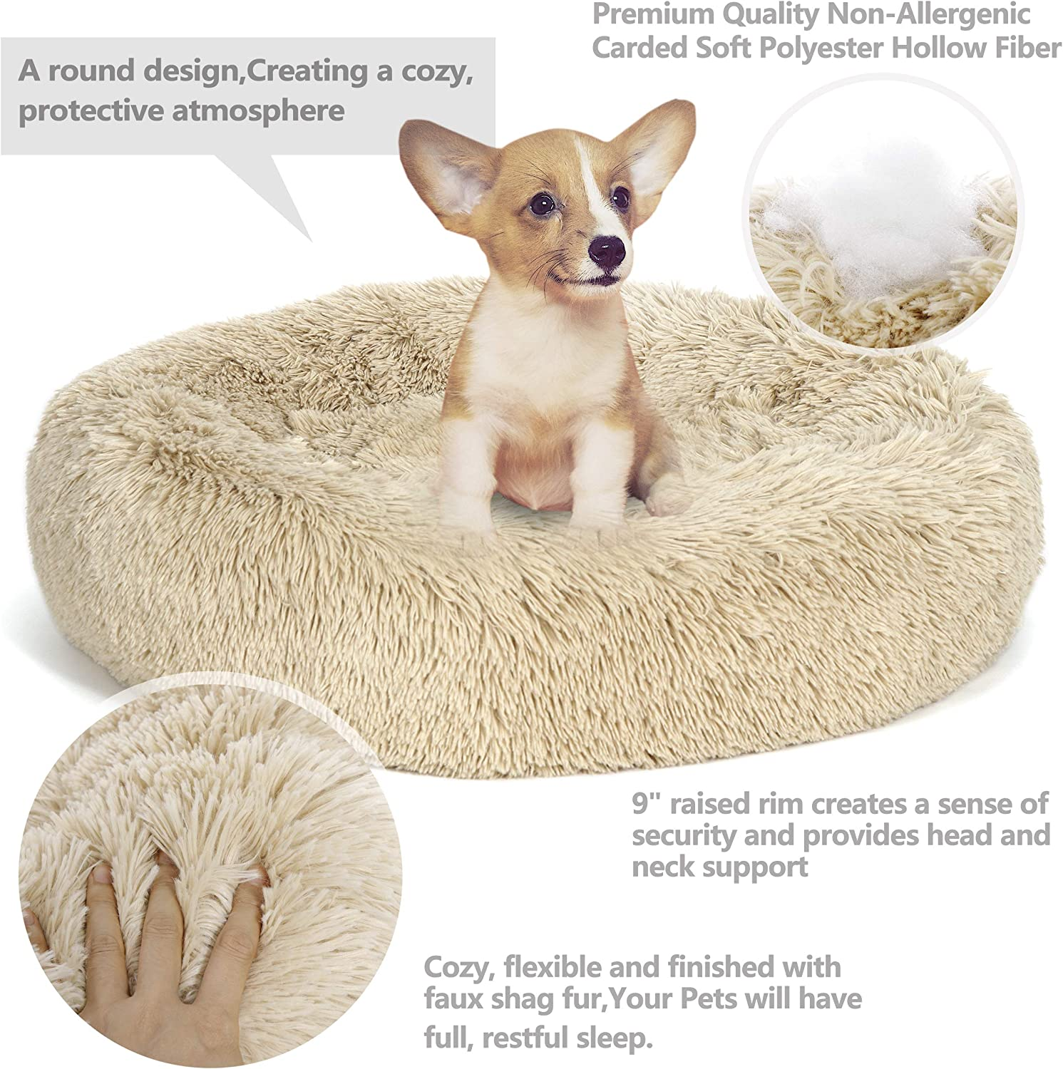 Pet Dog Cat Calming Soothing Bed With Anti Anxiety - Forevermily