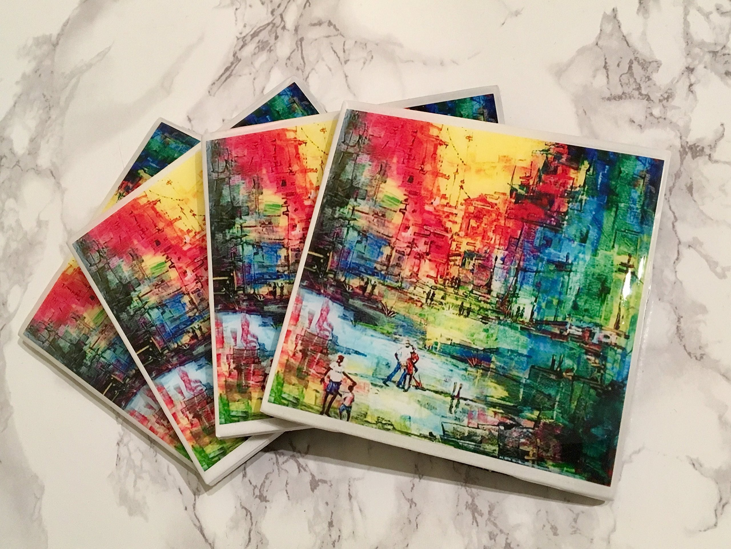 Colorful Skyline Coasters Set of 4 - Everyday Gift, Housewarming Gifts, Gift for Hostess, Birthday Gift, Coffee Tea Drinker, Wine Coasters, Gift for Coworkers