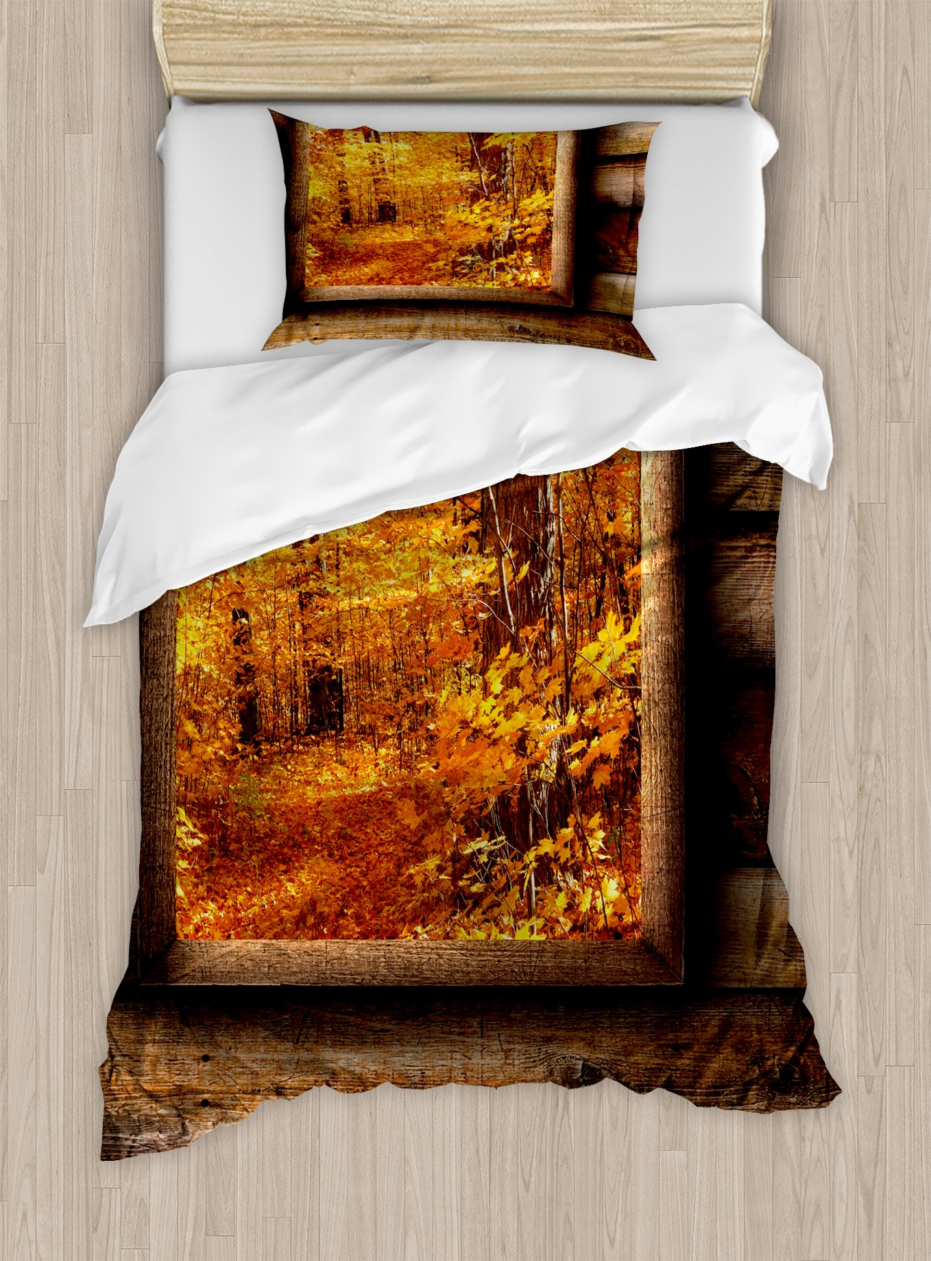 Ambesonne Fall Duvet Cover Set Twin Size, Fall Foliage View from Square Shaped Wooden Window Inside Cottage Rustic Life Photo, Decorative 2 Piece Bedding Set with 1 Pillow Sham, Orange Brown