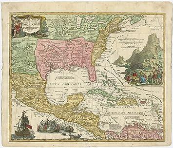 Map Of Texas To Florida.Antique Map Usa New Mexico Texas Florida Caribbean Gulf Homann Heirs