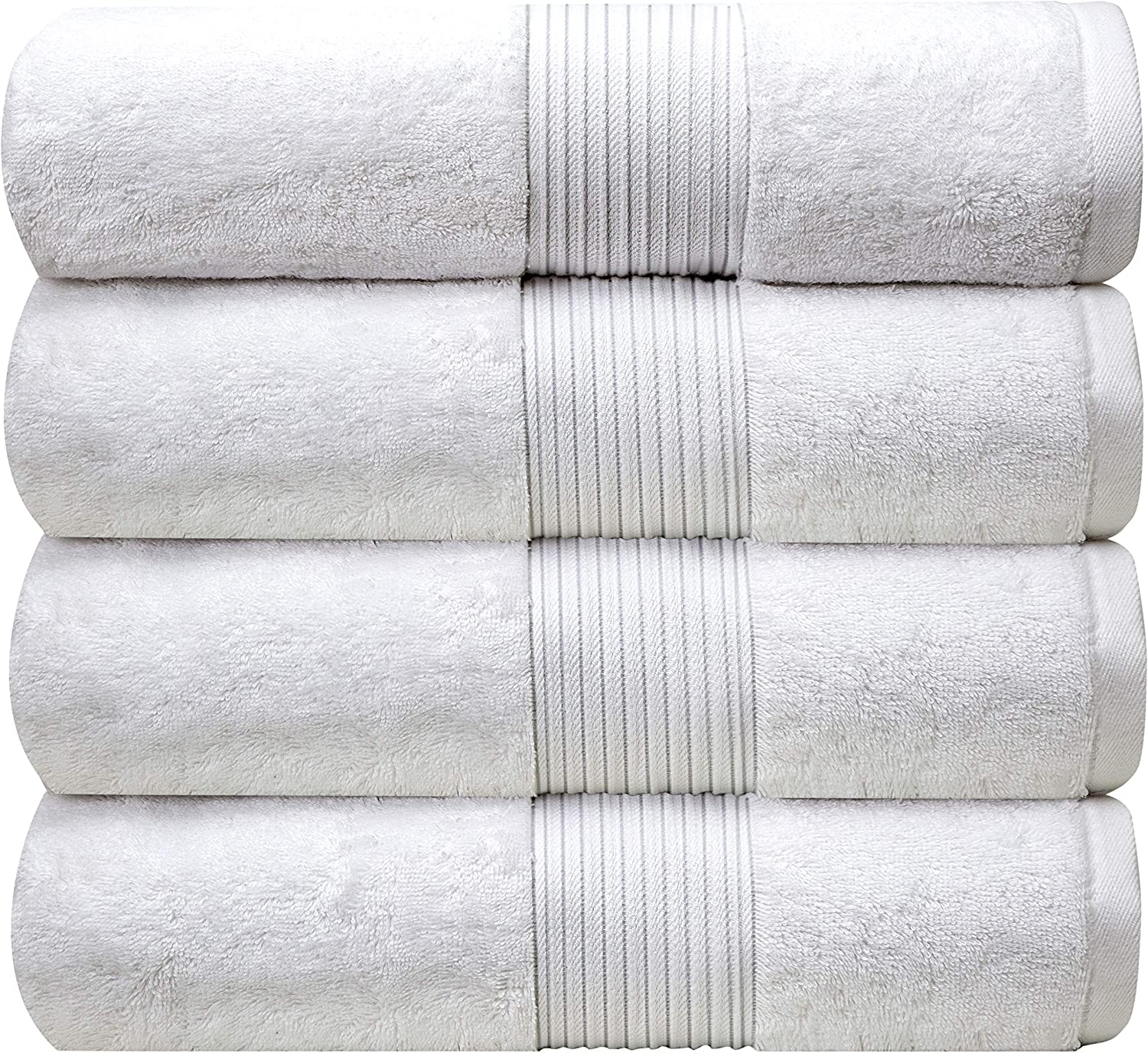 """Bliss Luxury Combed Cotton Bath Towels - 27"""" x 54"""" Standard Size Premium Quality Bath Sheet - 650 GSM - Soft, Absorbent (White): Kitchen & Dining"""