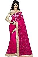 Fashion2wear Net Saree With Blouse Piece (SAR-345_Pink_Free Size)
