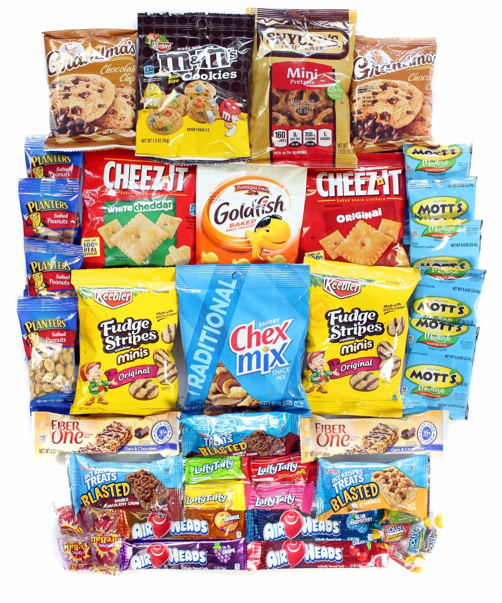 Cookies Chips & Candies Variety Pack Bundle Assortment Includes Cheez-It's Goldfish Laffy Taffy Rice Krispy Treats Chex Mix Oreos & More Bulk Sampler 40 Count by Stay at Home Snacks