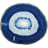 LARGE BLUE AGATE SLAB 4-5 INCH Geode Slice with Stand Crystal Mineral Gemstone Rock Gem