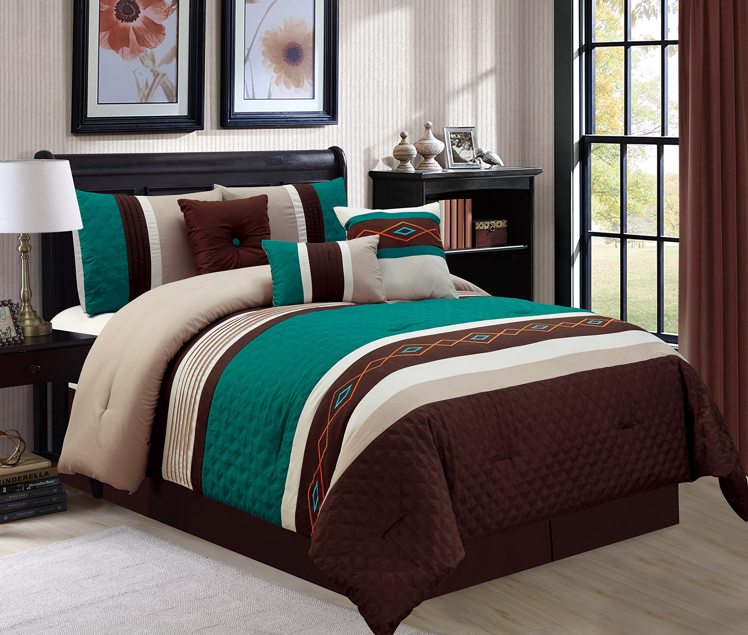 WPM 7 Piece Bedding set, Green, brown, Taupe Comforter with Accent pillows Queen size Bed in a Bag-Yeva