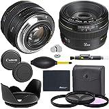 Canon EF 50mm f/1.4 USM Lens (2515A003) + AOM Pro Starter Bundle Kit - International Version (1 Year AOM Warranty)