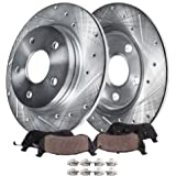"Detroit Axle - 12"" Drilled & Slotted Rear Brake Kit Rotors & Ceramic Pads w/Hardware Kit Replacement for 08-11 Town…"