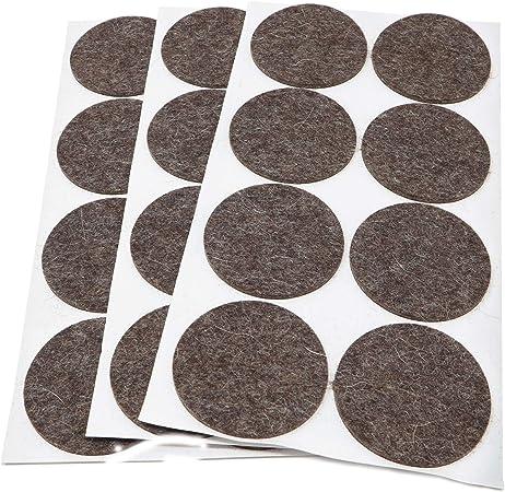 Adsamm Lot de 21 patins en feutre autocollants de qualit/é sup/érieure Noir 30 x 30 mm