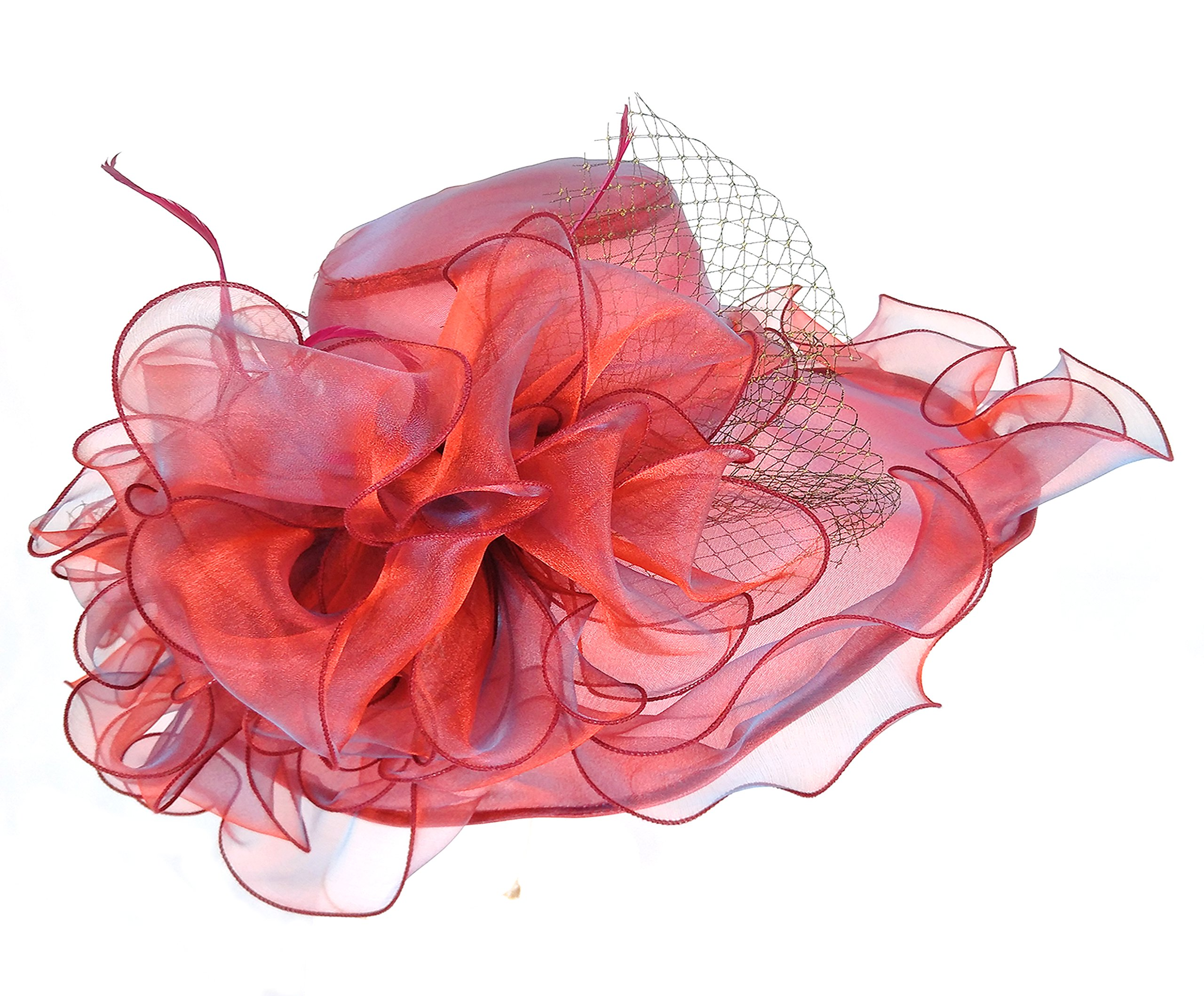 Seven Flowers Kentucky Derby Hats for Women Church Ladies Wedding British Tea Party Hat (12-red) by Seven Flowers (Image #5)