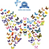 Butterfly Wall Stickers Decals Art 100PCS Colorful, Butterflies Wallpaper Home Decor for Kids Girls Living room Bedroom Kitchen Bathroom, Vinyl Wall Decoration, New Design with Packing Box by CYWLife