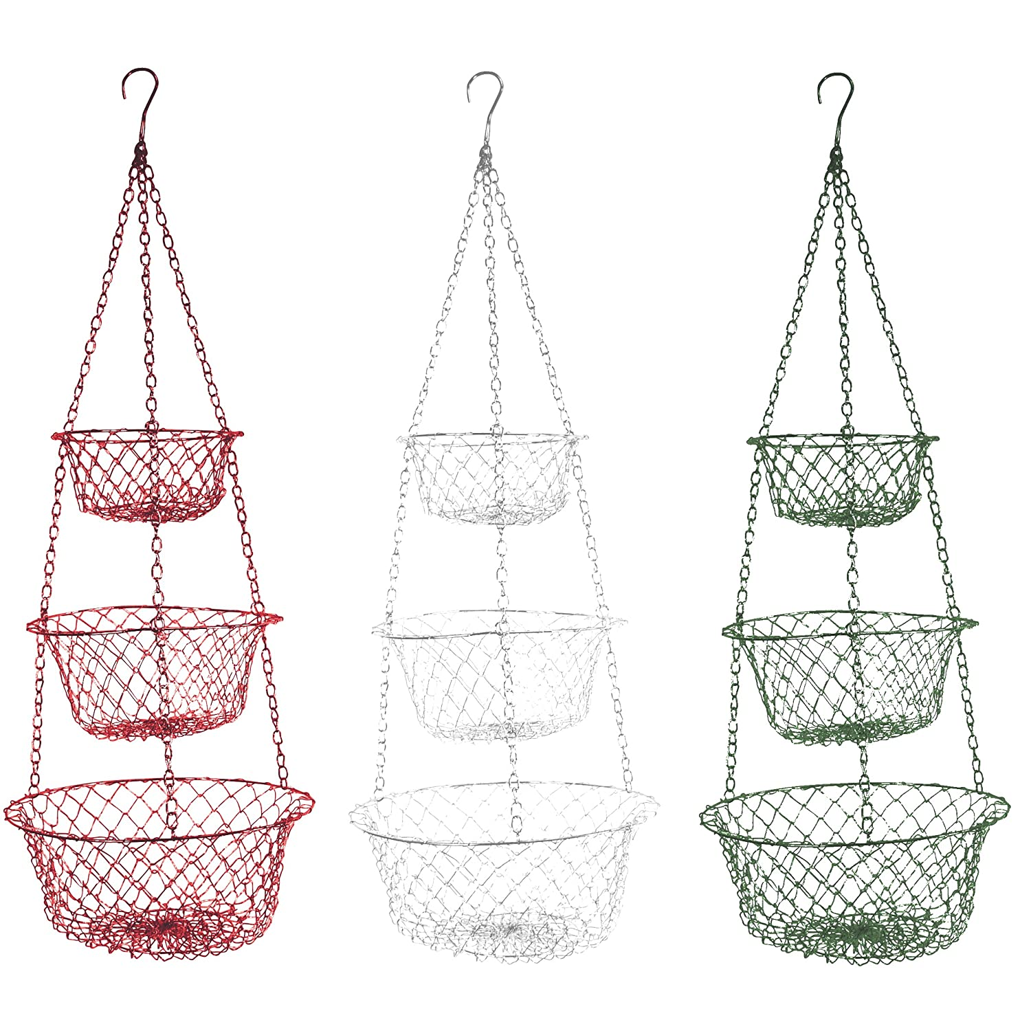 Fox Run 3 Tier Hanging Fruit Vegetable Kitchen Storage Basket - Colors may vary Fox Run 5210