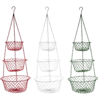 Fox Run 3 Tier Hanging Fruit Vegetable Kitchen Storage Basket   Colors May  Vary