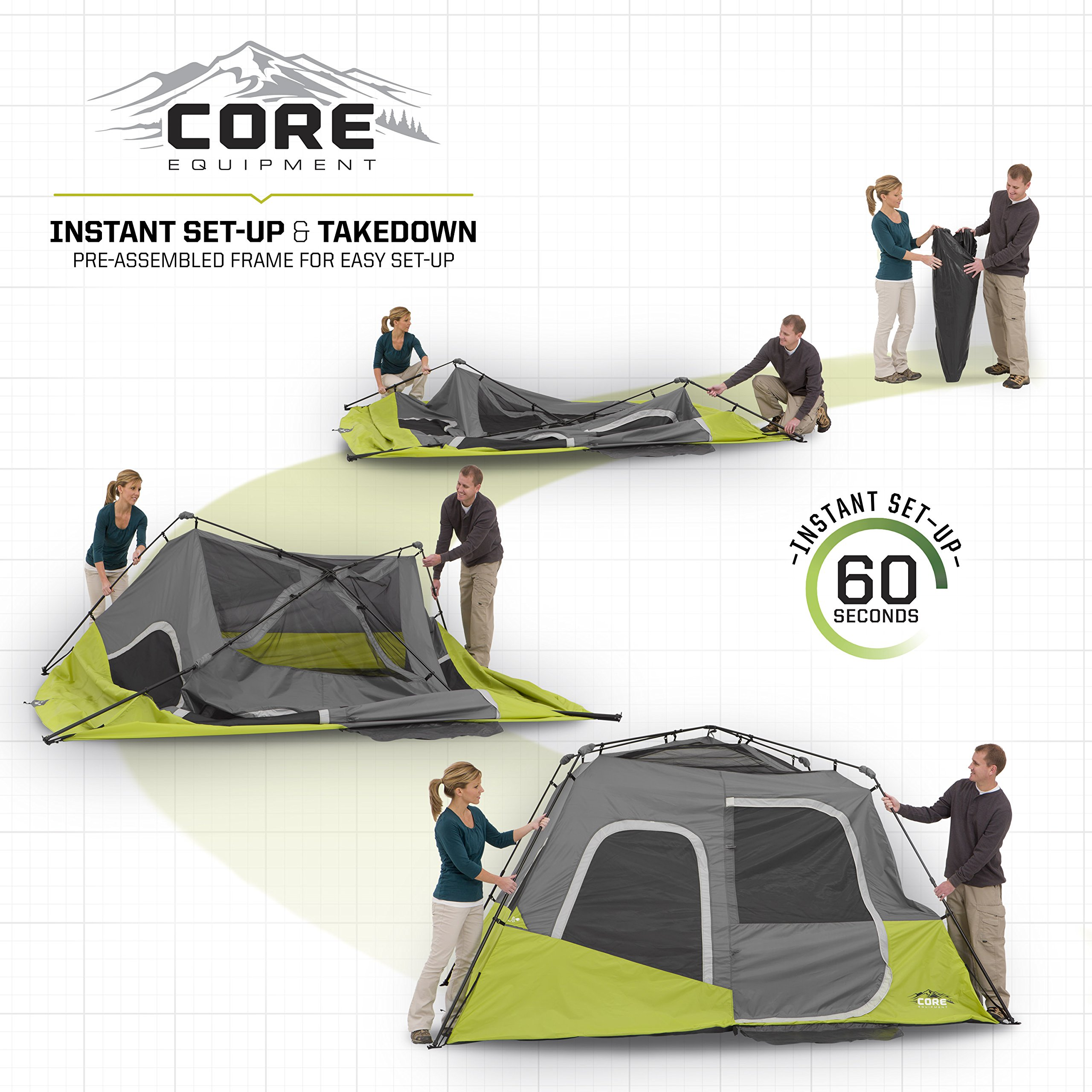 CORE Instant Cabin Tent, 6 Person, 11' x 9' by CORE (Image #3)