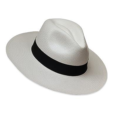 Tumia LAC Cappello Panama Fedora - Versione non arrotolabile - Bianco con  banda nera - 54cm c71d18b55142