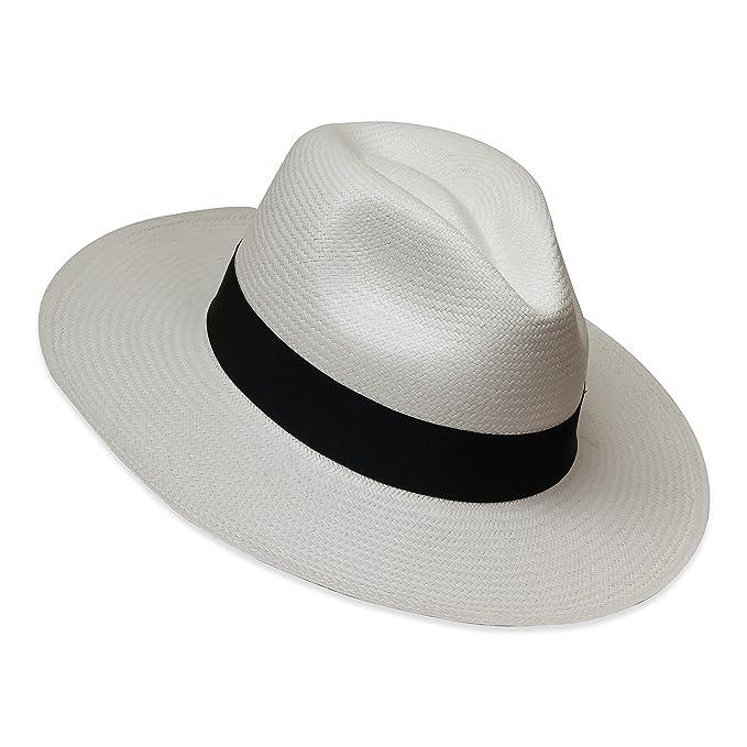 Tumia - Sombrero Panamá Fedora - Versión no Enrollable - Blanco con Banda  Negra - 54cm 6d725a6ccba