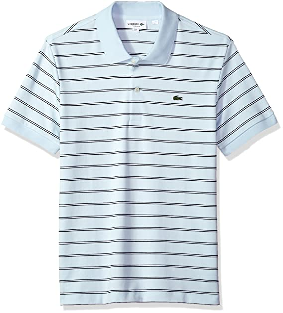 1ce22456 Lacoste Men's Short Sleeve Striped Pima Interlock Regular Fit Polo, DH3988,  Rill Light Navy