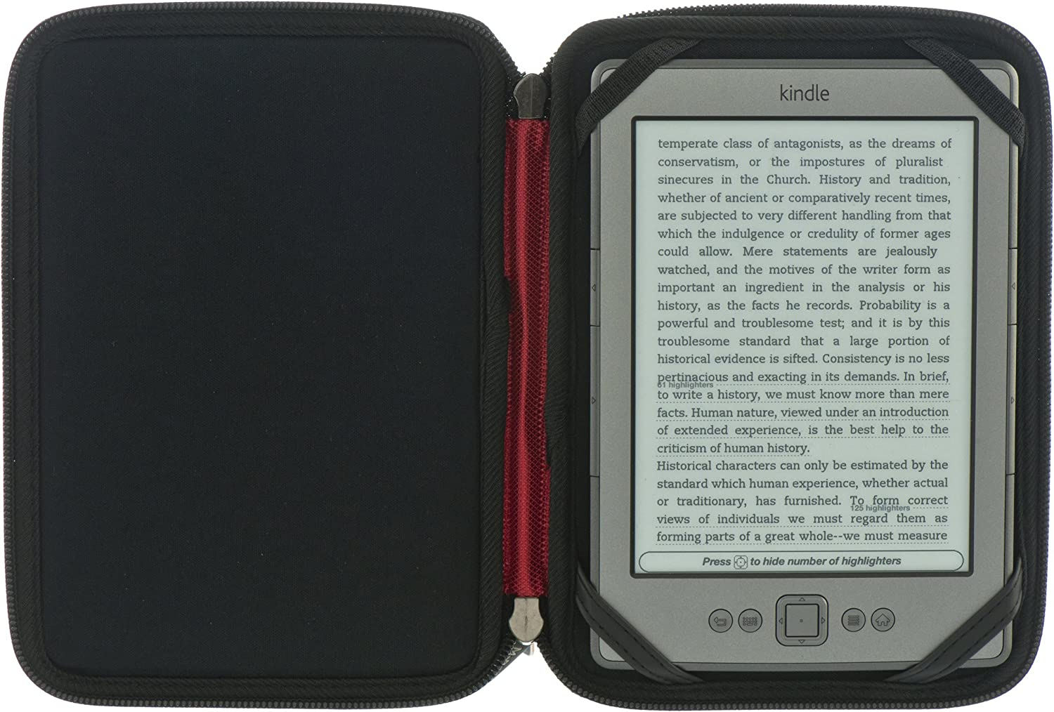 Touch M-Edge Latitude Jacket Protective Case Cover for Kindle 4 Renewed Black // Red