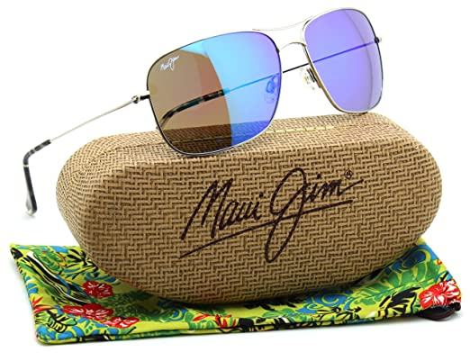 130fae34cd5 Maui Jim BREEZEWAY Titanium Polarized Sunglasses Blue Hawaii B773-17   Amazon.co.uk  Clothing