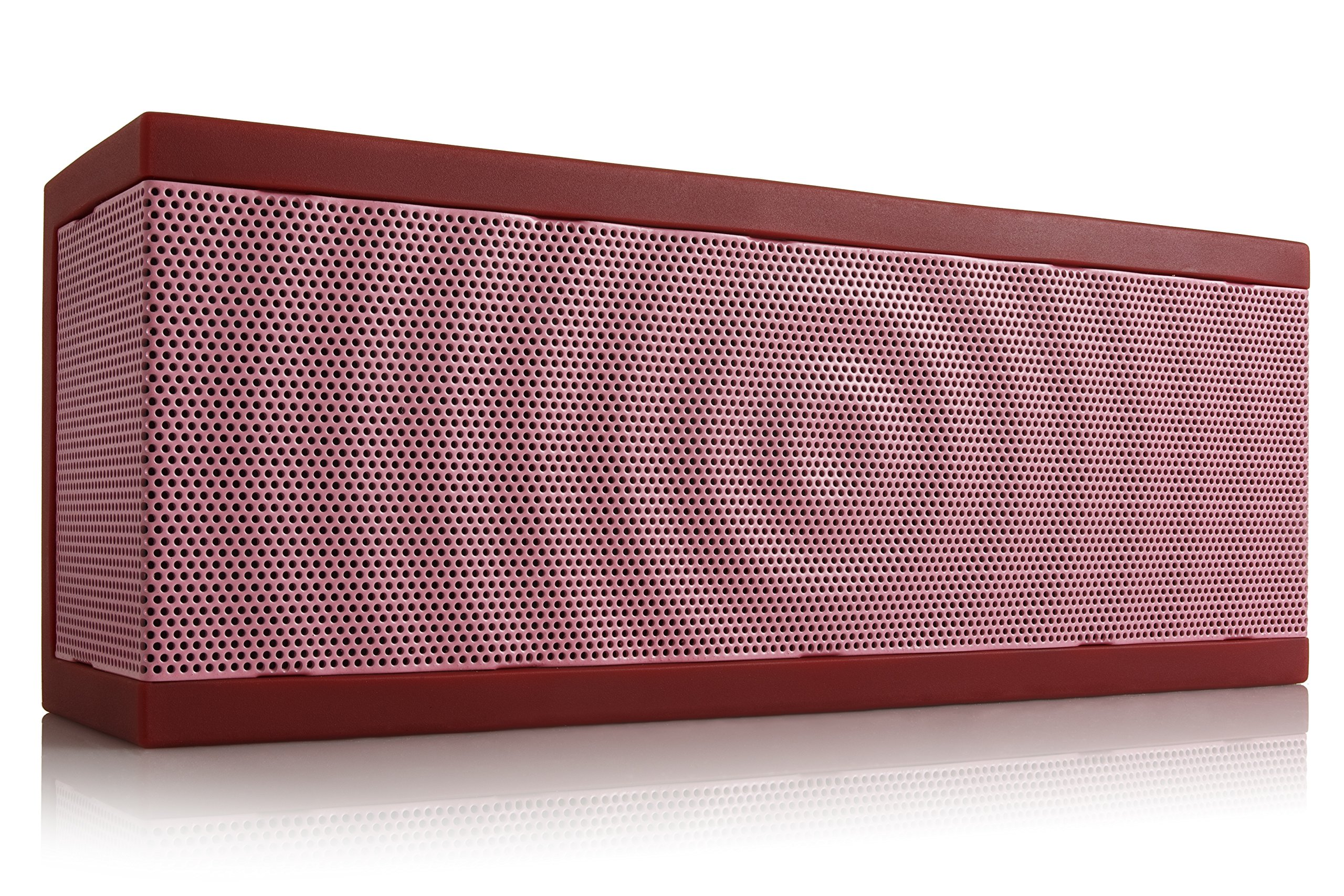 SoundBlock Custom Bluetooth Wireless Stereo Speaker for Computers and Smartphones. Bluetooth 3.0 Technology with Built-in Speakerphone and 10 Hour Rechargeable Battery. In Red/Pink