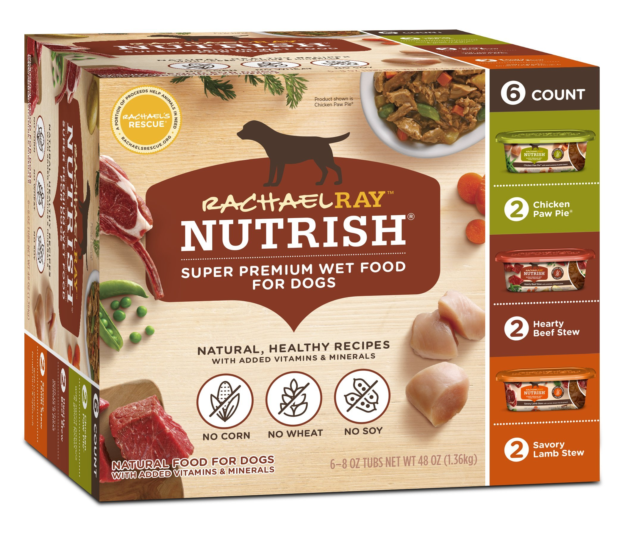Rachael Ray Nutrish Natural Premium Wet Dog Food, Savory Favorites Variety Pack, 8 Ounce Tub (6 count)