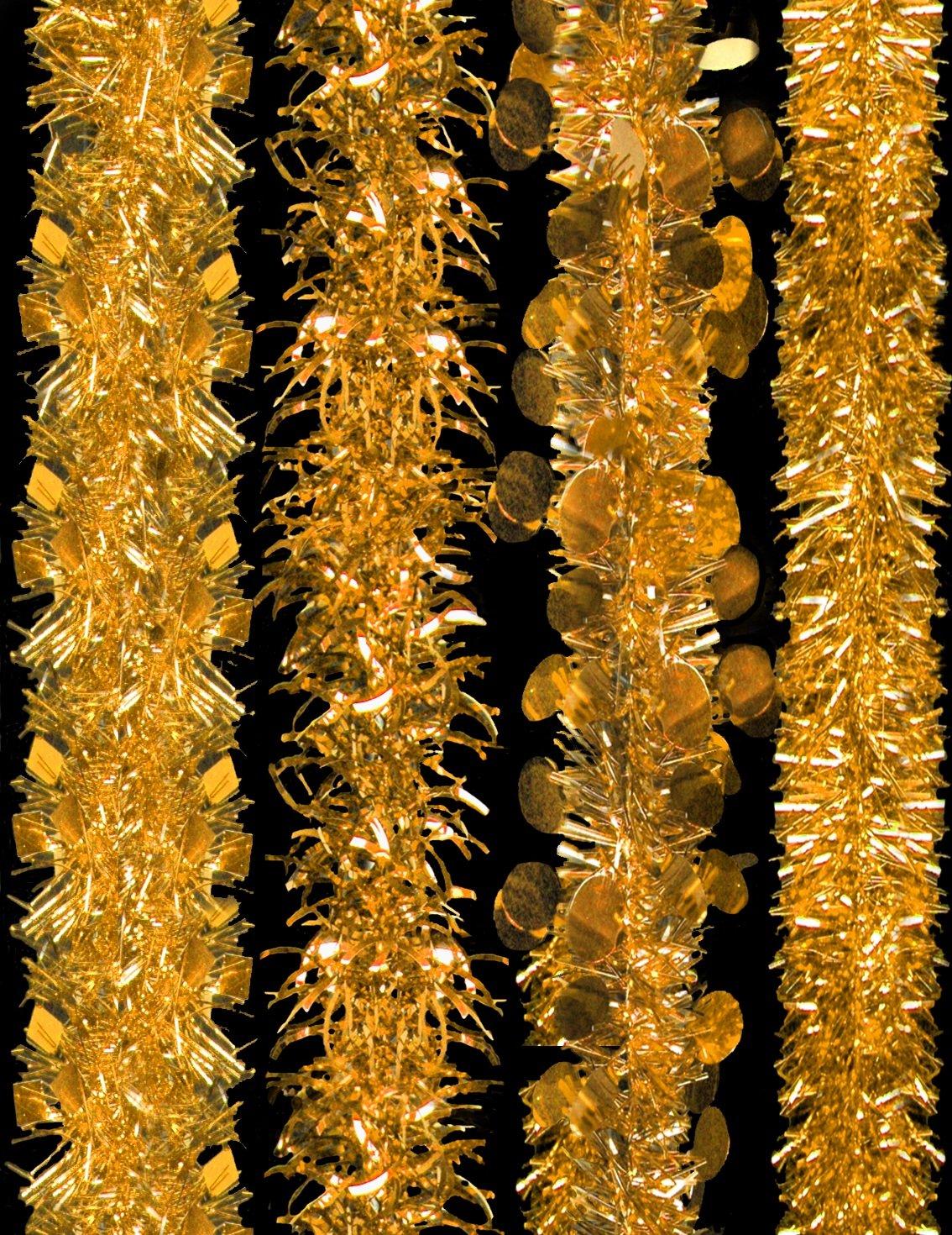 2 Metre Gold Tinsel - Decorated Christmas Tinsel - 4 Designs - 1 Chosen At Random. Christmas Shop