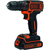 Black+DeckerBDCDC18-XE18V Lithium-ion Drill Driver + 200mA charger + 1 battery, 200mA charger, Black/Orange