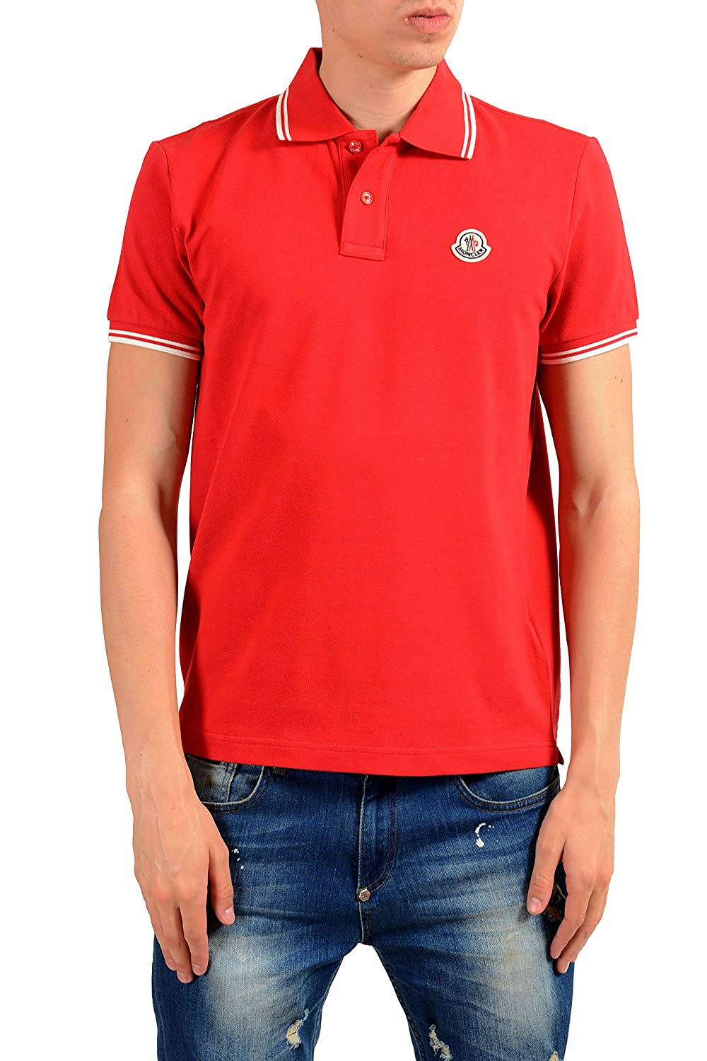 Moncler Mens Red Short Sleeve Polo Shirt Size Us Xl It 54 At Amazon