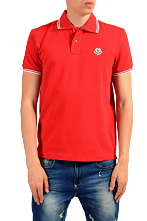825ec7623 Image Unavailable. Image not available for. Color: Moncler Men's Red Short  Sleeve Polo Shirt ...