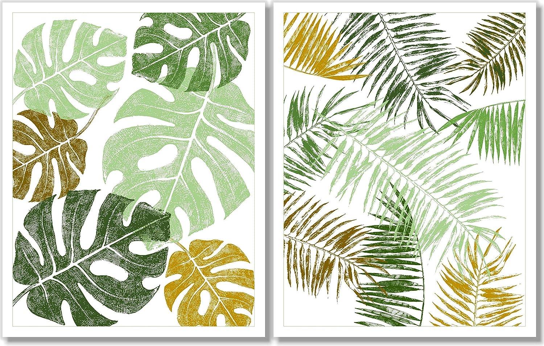 Tropical Leaf Watercolor Art Prints Botanical Art Wall Decor Office Decor Birthday Gift #Set E Set of 3 Green Leaves Prints