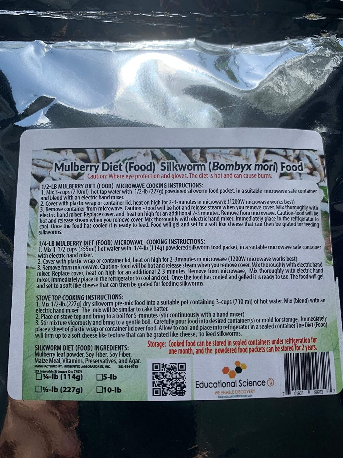 EDUCATIONAL SCIENCE WE ENABLE DISCOVERY Silkworm Chow (Mulberry Diet), 1/2-lb, Pre-Mix Powder, SCH50
