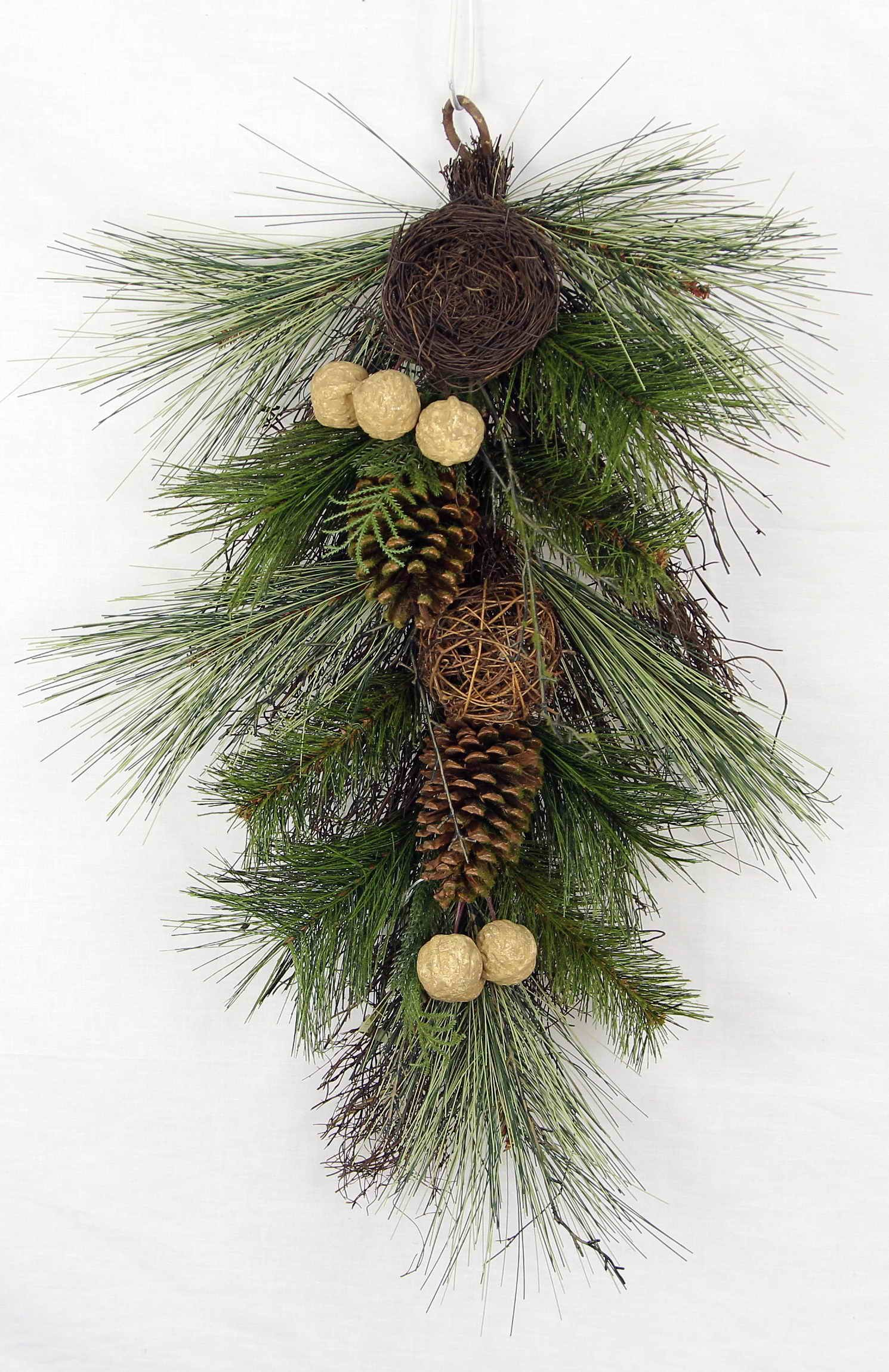 Admired By Nature Christmas Pine Teardrop Swag with Twig Balls, Bird Nest & Walnut