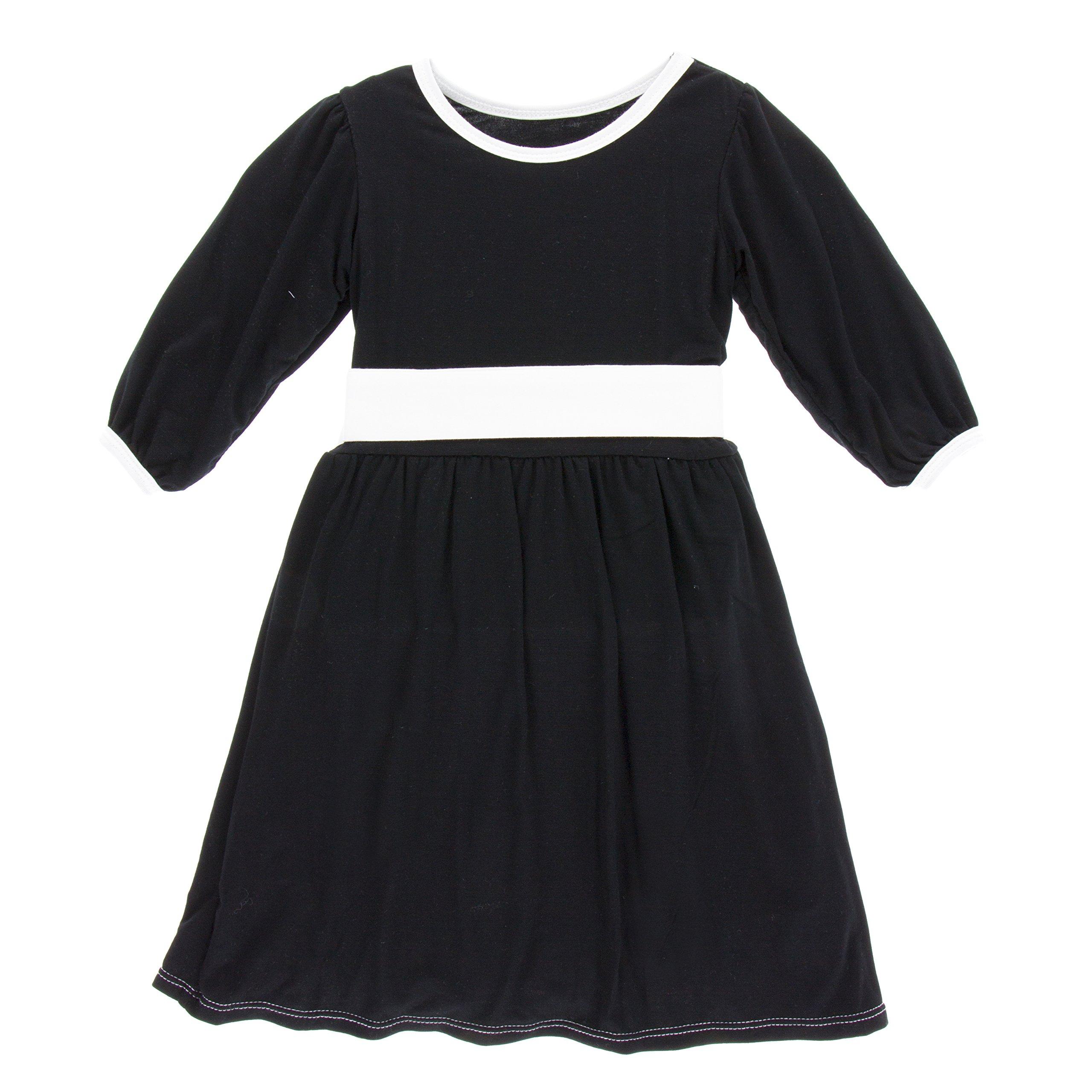 KicKee Pants Little Girls Solid Long Sleeve Oh La La Dress, Midnight, 3T