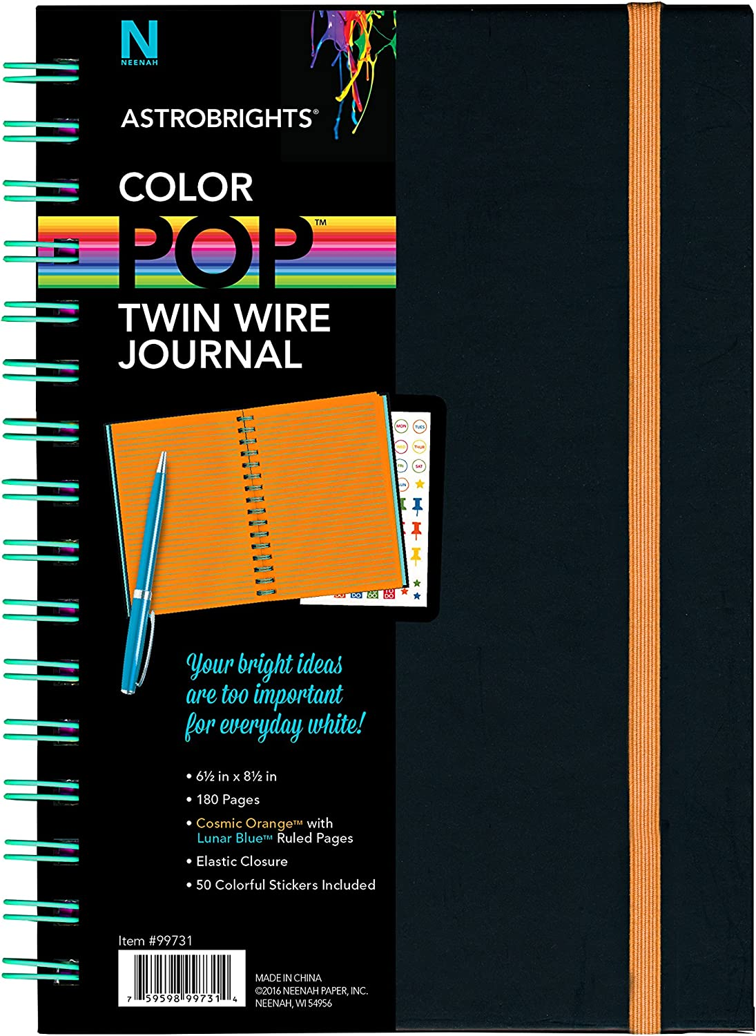 """Astrobrights Twin Wire Journal, 6.5"""" x 8.5"""", Multi-Color Ruled Pages, 180 Pages(99728)"""