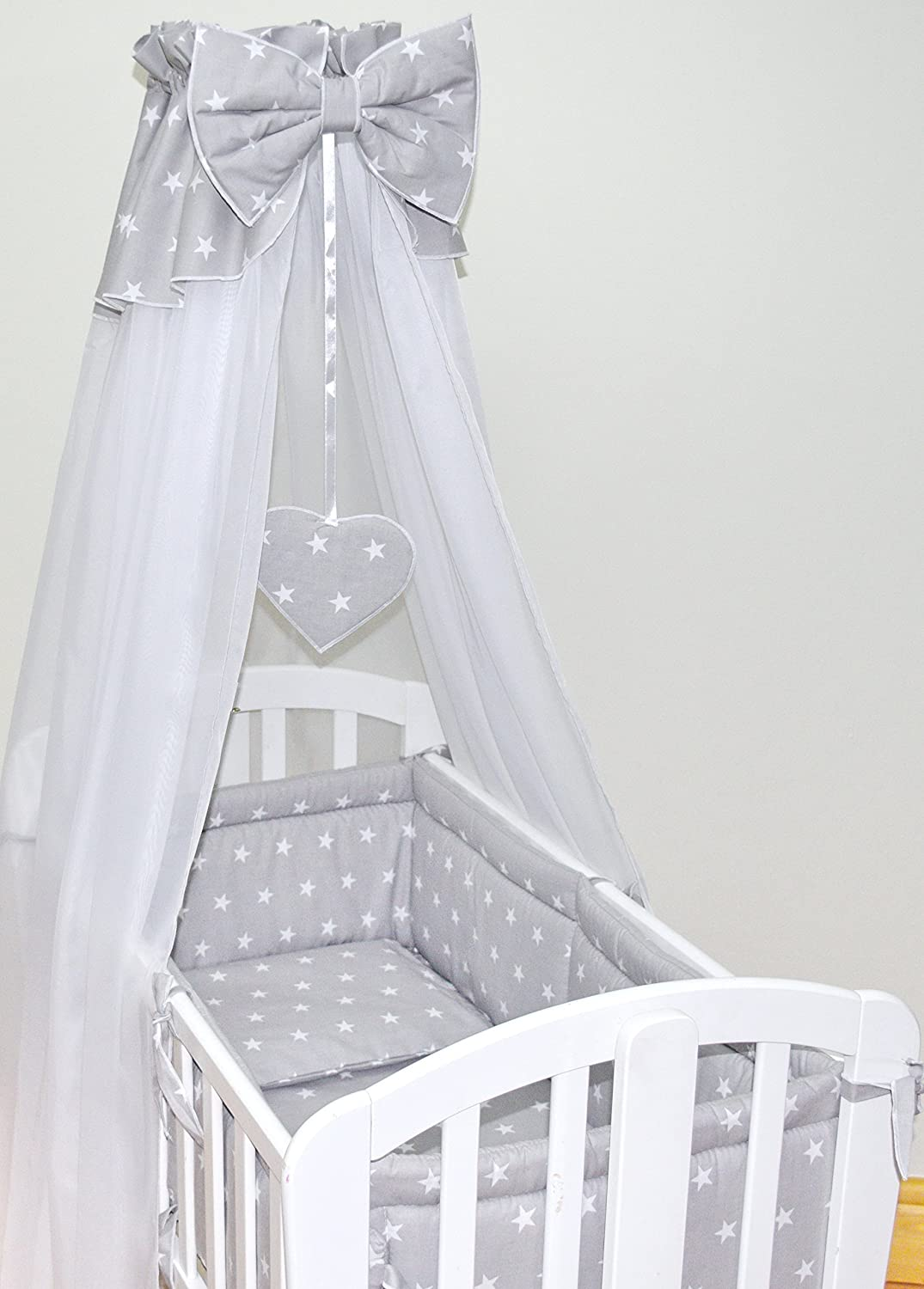 Grey Stars 10 pcs Crib Bedding Set//Bumper ALL ROUND//sheet//duvet//CANOPY//Free Standing Canopy Holder