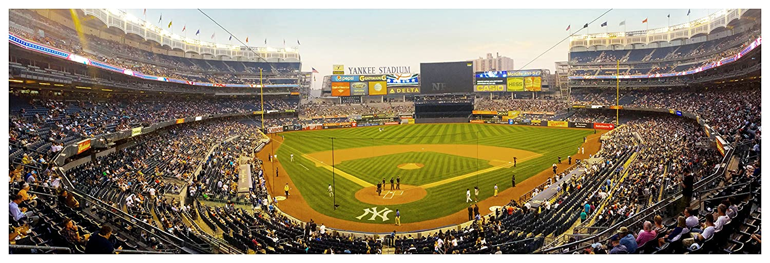 Amazon.com: Yankee Stadium at Dusk - Baseball Field - 44x15 Matte ...