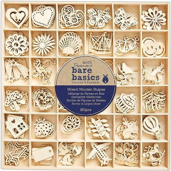 100 Papermania Bare Basics Wooden Heart Confetti Shapes Cardmaking Embellishment