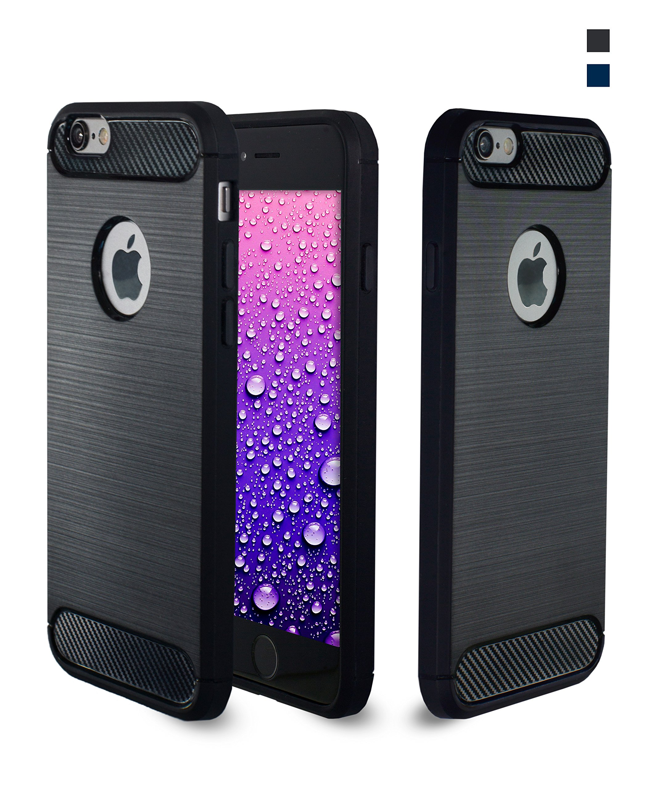 Habrok Carbon Case for iPhone 6 and 6S Black,silicone cases,unique armored drop proof holographic accessories, clear art design for phone dance shock proof,hard cheap defender for life,soft non slip