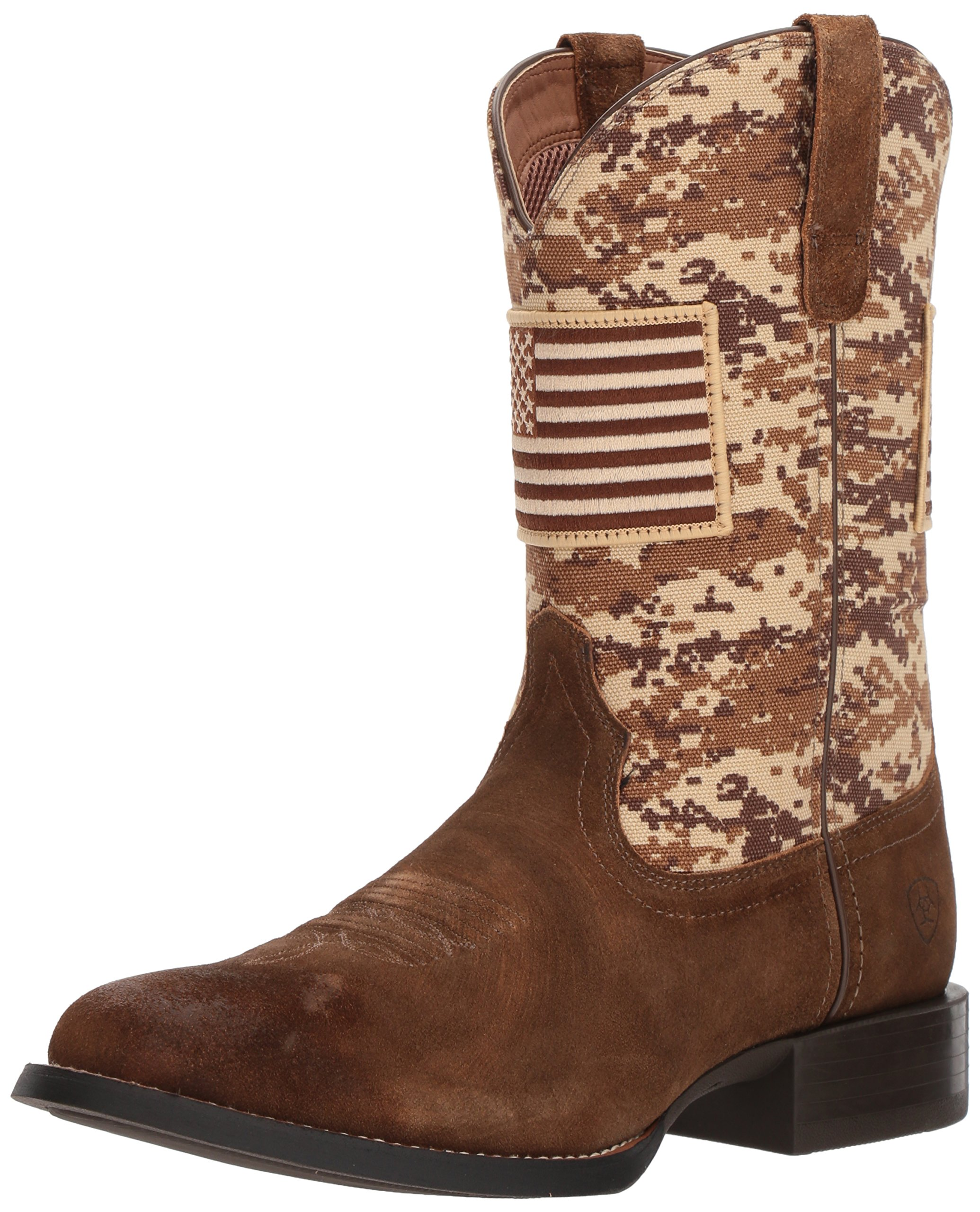 Ariat Men's Sport Patriot Round Toe Western Boot, Antique Mocha Washed Suede/Sand camo Print, 9 D US