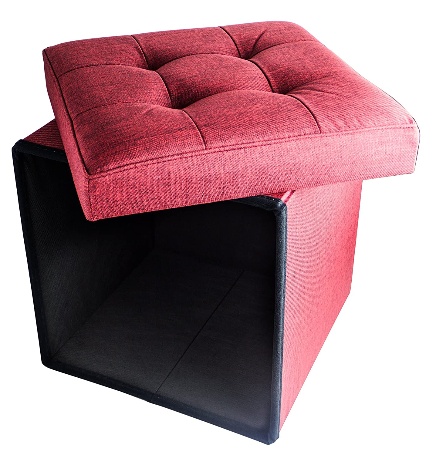 """Red Co. Folding Cube Storage Ottoman with Padded Seat, 15"""" x 15"""" - Burgundy"""
