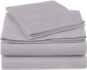 Pinzon 300 Thread Count Organic Cotton Bed Sheet Set - Twin XL, Dove Grey