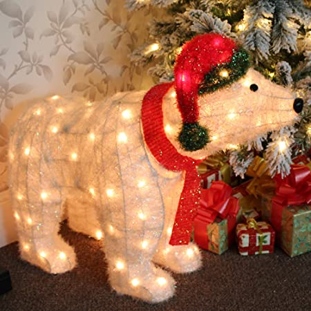 large pre lit polar bear christmas decoration illuminated with 100 led lights suitable for