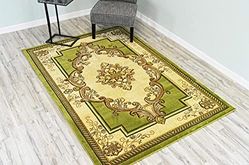 PlanetRugs Glamour Design 206 3D Hand Carved Traditional Rug Oriental Floral 5 2 x7 5 Green Beige