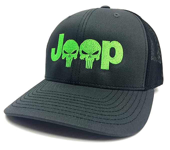 0b3d5861f07be Jeep Logo With Punisher Skull Symbol Embroidered Mesh Twill Cap (Charcoal  Black Lime Green) at Amazon Men s Clothing store