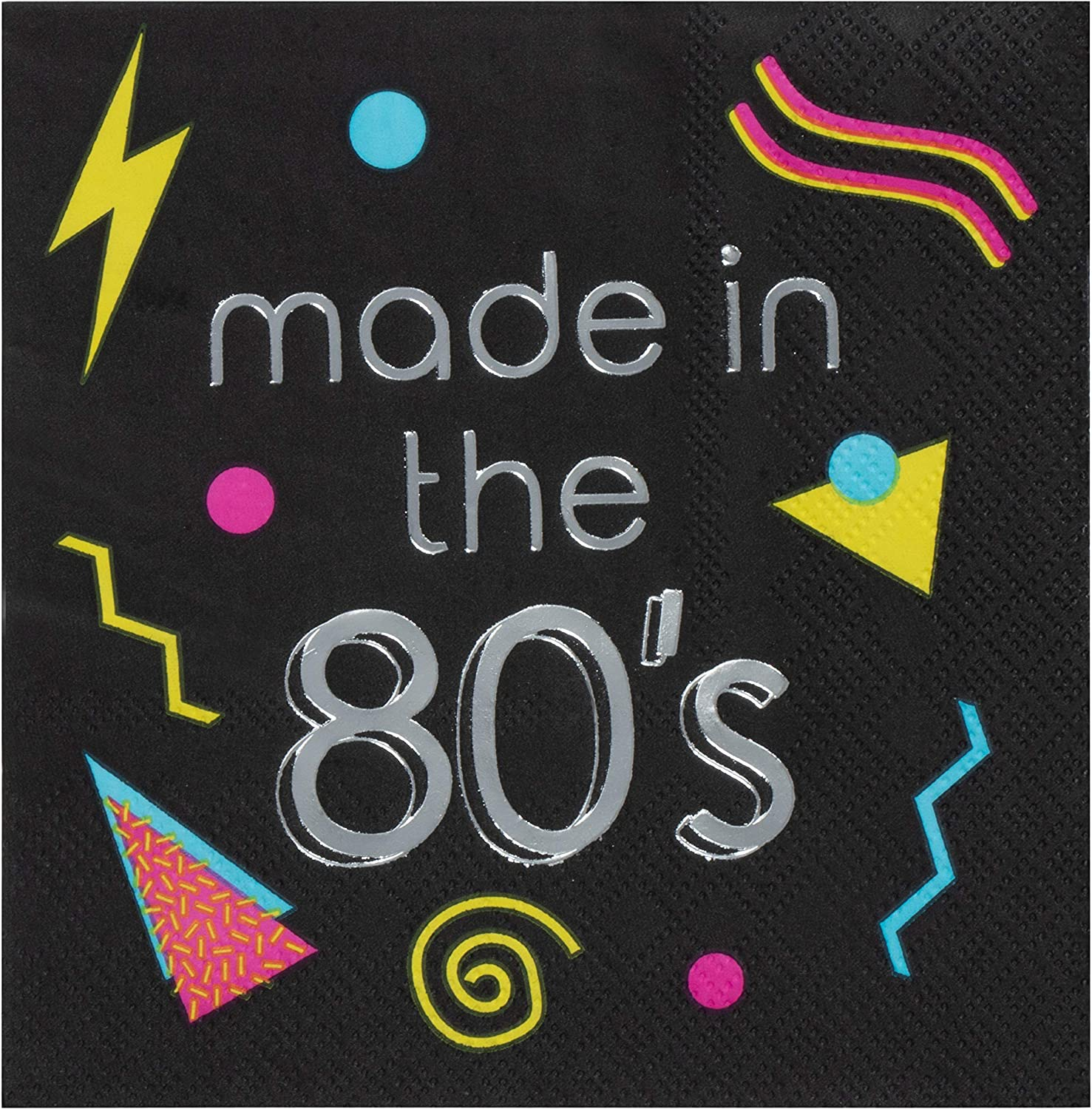 Made in the 80's Napkins for Birthday Parties (5 x 5 In, Black, 50 Pack)