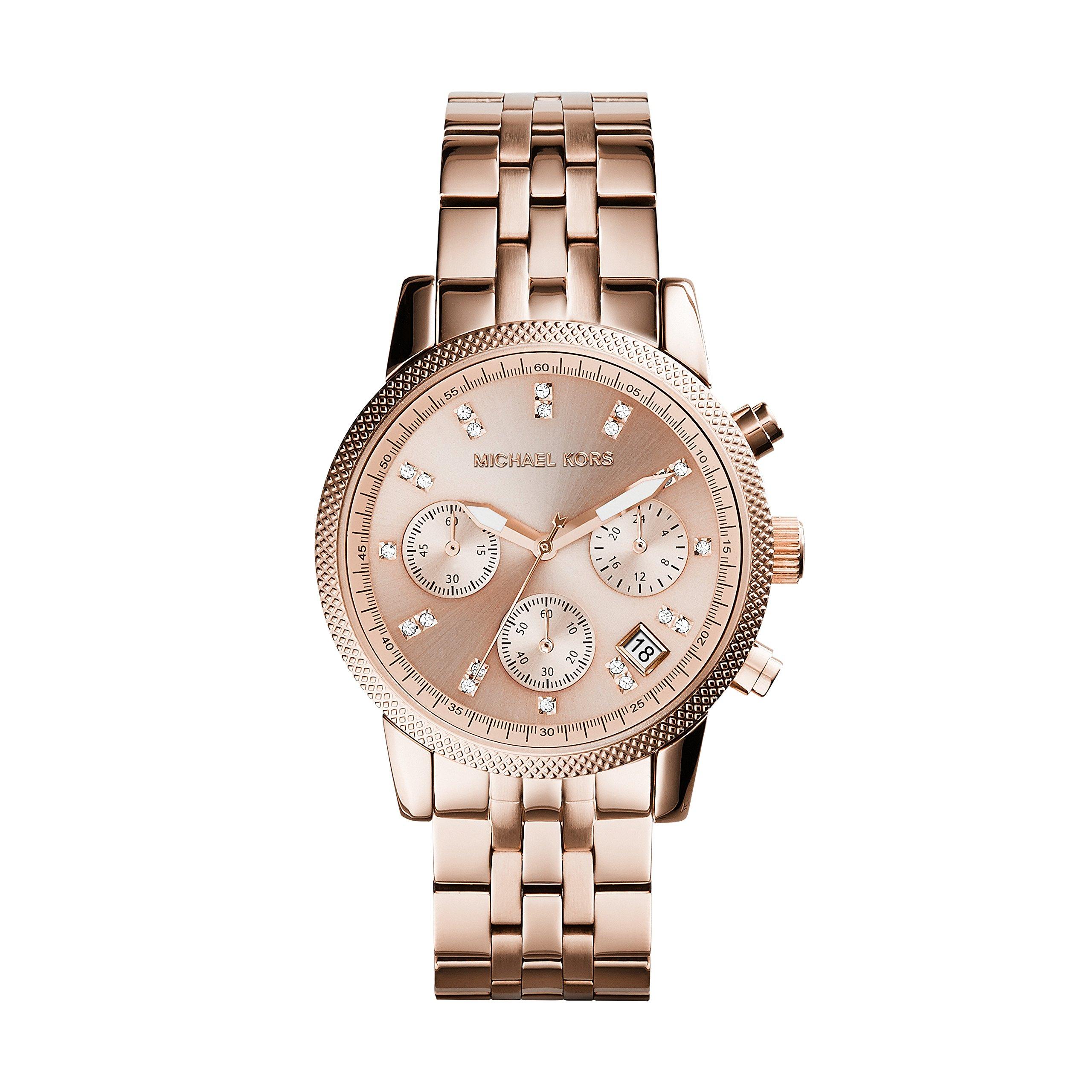 Michael Kors MK6077 Ladies Ritz Rose Gold Plated Chronograph Watch by Michael Kors