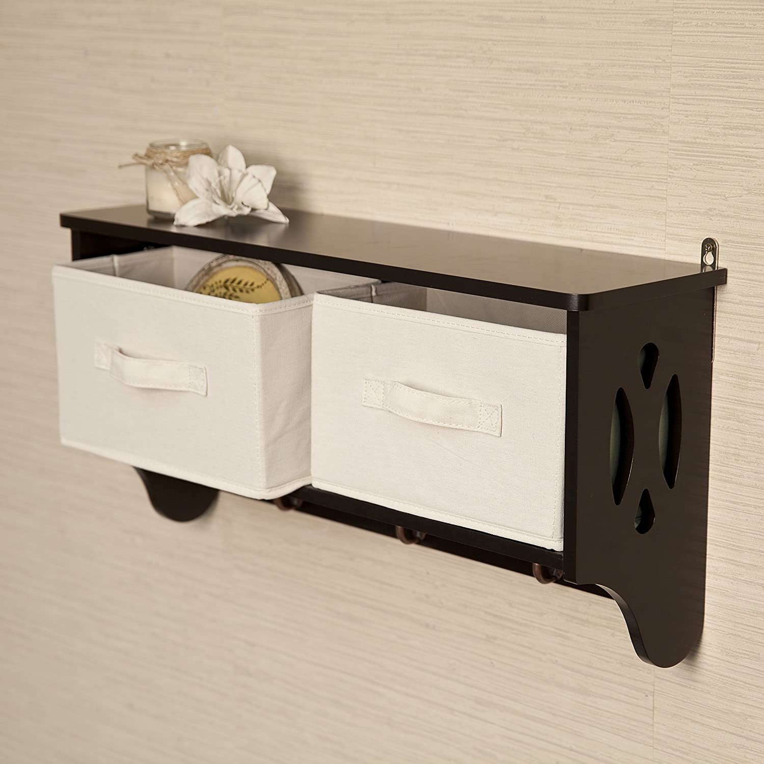 Amazon.com: Danya B. Entryway Storage Wall Shelf With Canvas Bins And  Hooks: Kitchen U0026 Dining