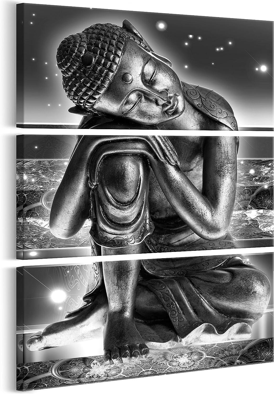 murando - Cuadro en Lienzo Buda 90x135 cm Impresión de 3 Piezas Material Tejido no Tejido Impresión Artística Imagen Gráfica Decoracion de Pared – abstracción Zen Oriental p-C-0008-b-h