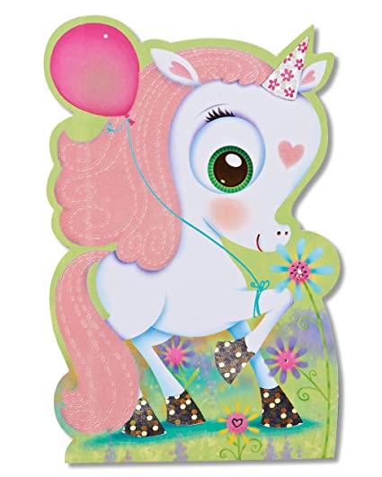 Amazon American Greetings Unicorn Die Cut Birthday Greeting Card For Girl With Soft Flocking And Foil Office Products