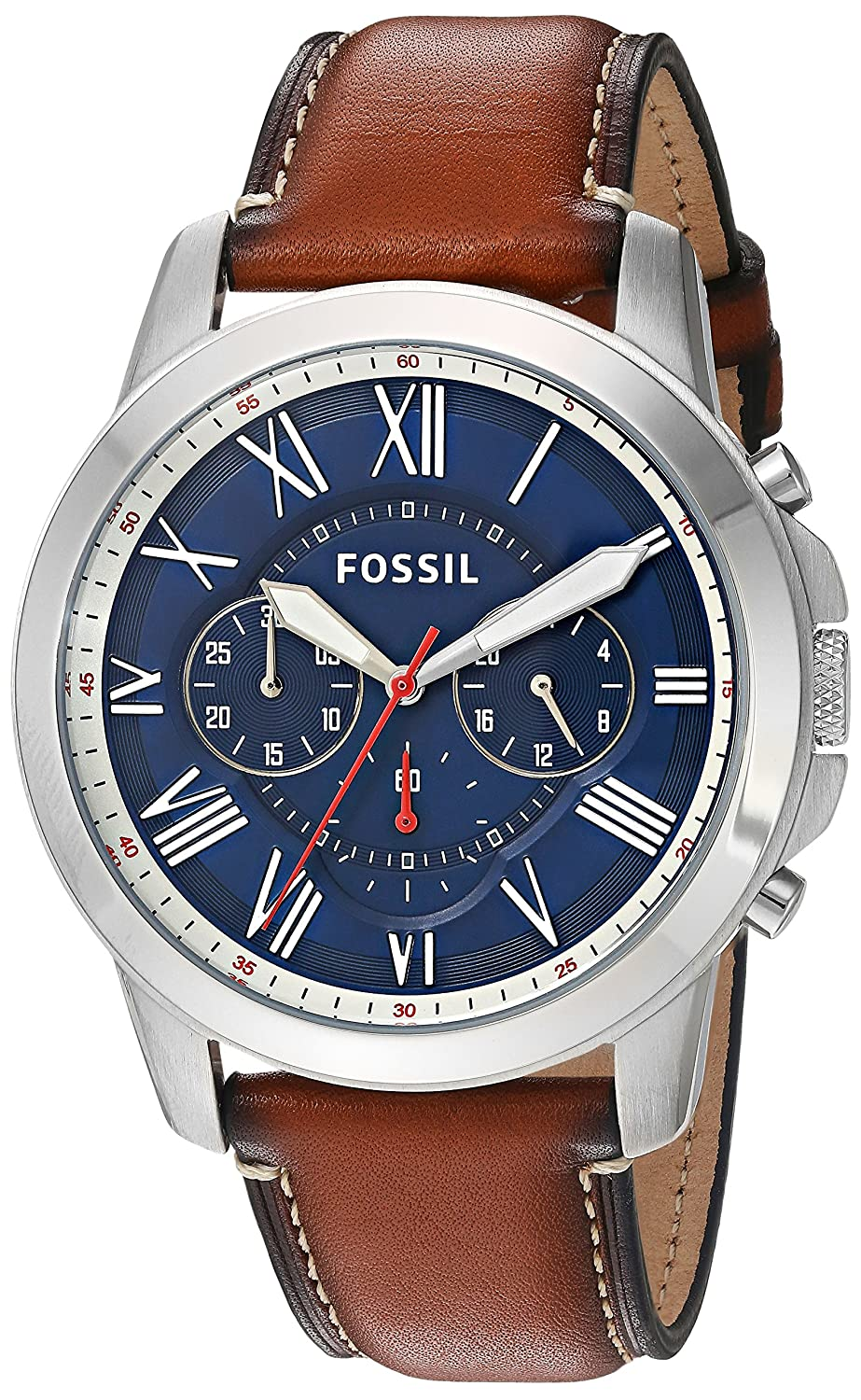 289b11e53c56a Amazon.com  Fossil Men s Grant Quartz Stainless Steel and Leather  Chronograph Watch